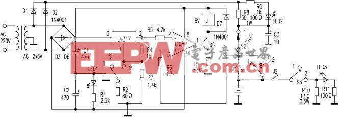 镍镉电池自动充电放电器电路