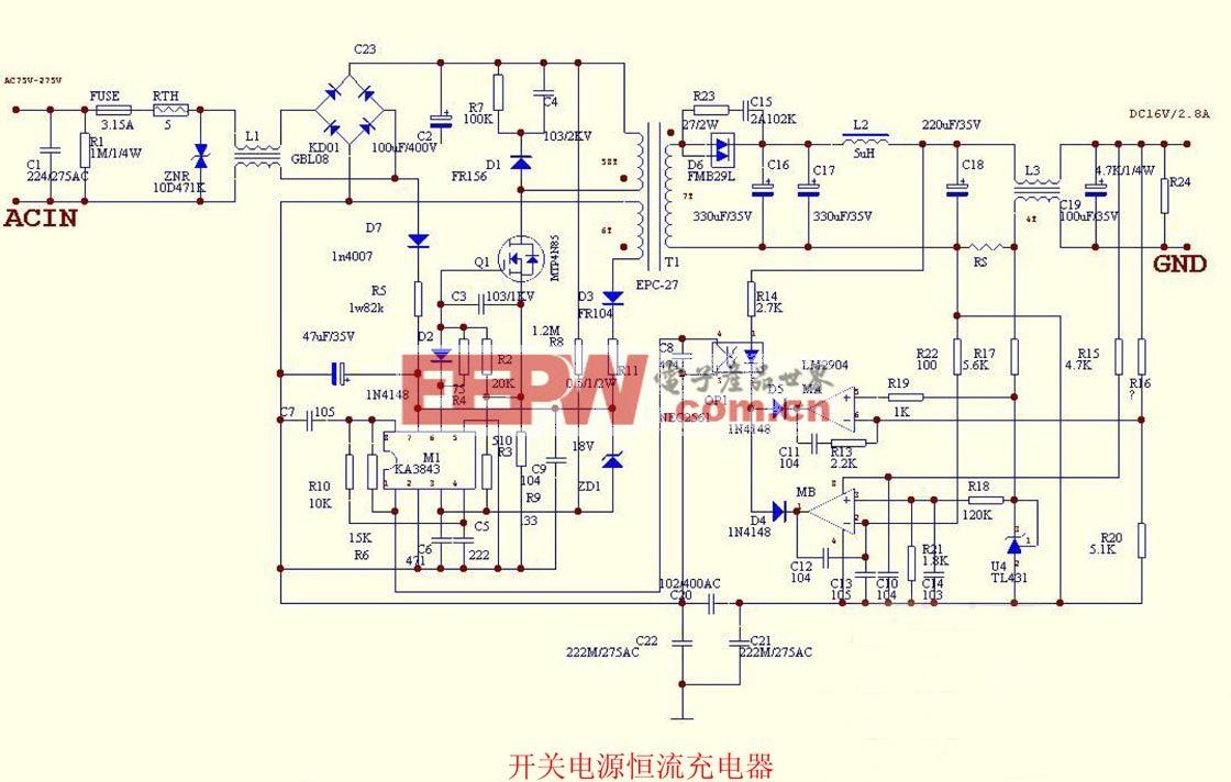 开关电源恒流充电器电路图