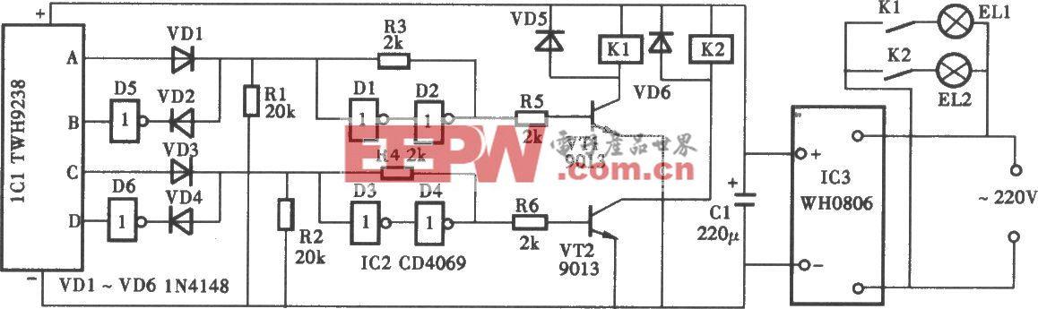 采用TWH9236/9238双通道无线电遥控照明灯电路