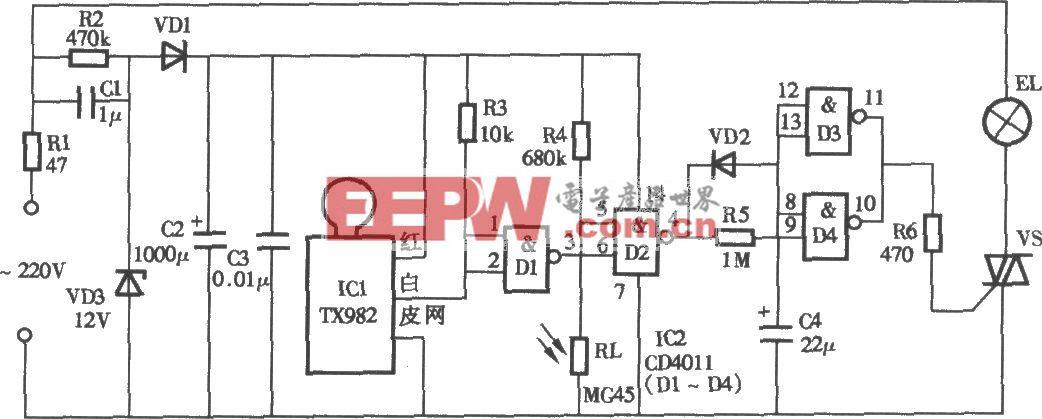 采用TX928微波探测照明灯电路