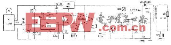 采用TX928微波探测的电子狗电路