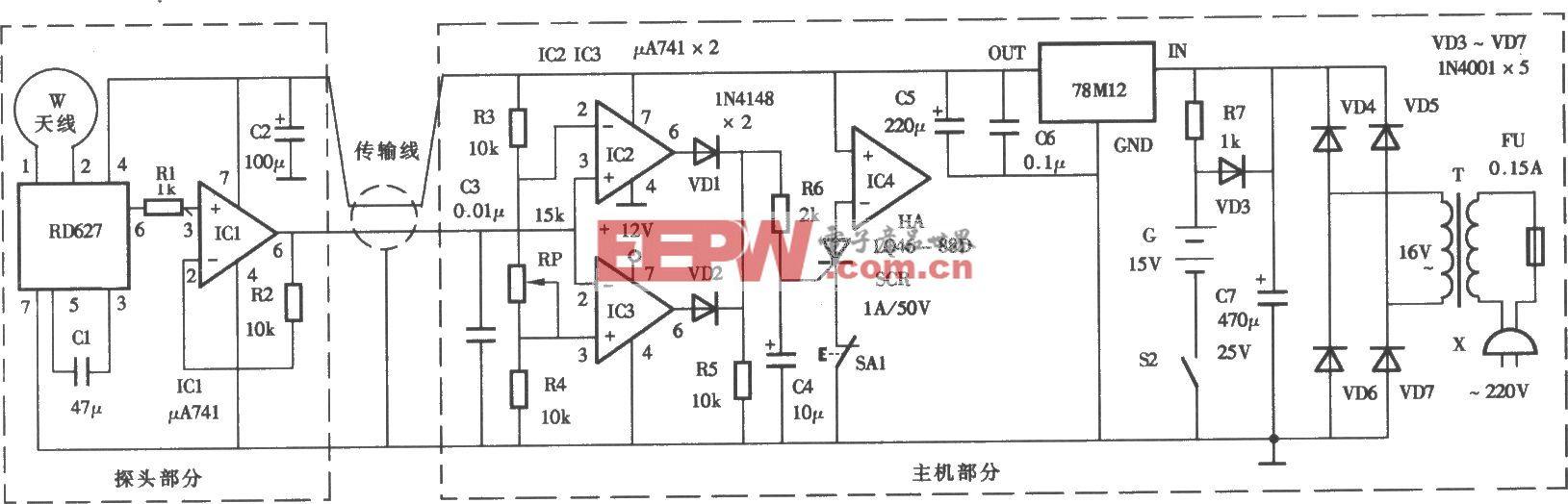 采用RD627的微波语言防盗报警器电路