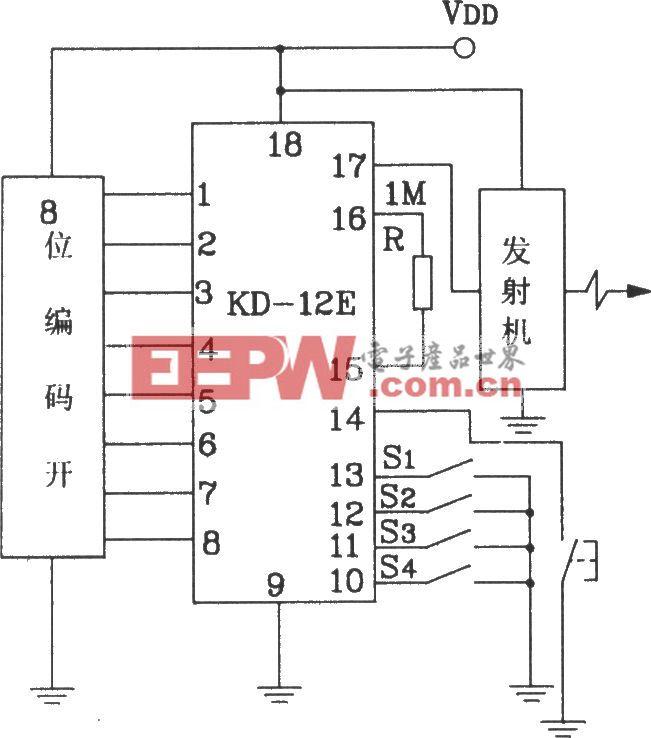 KD-12F构成256路式功能遥控接收、接收应用电路图