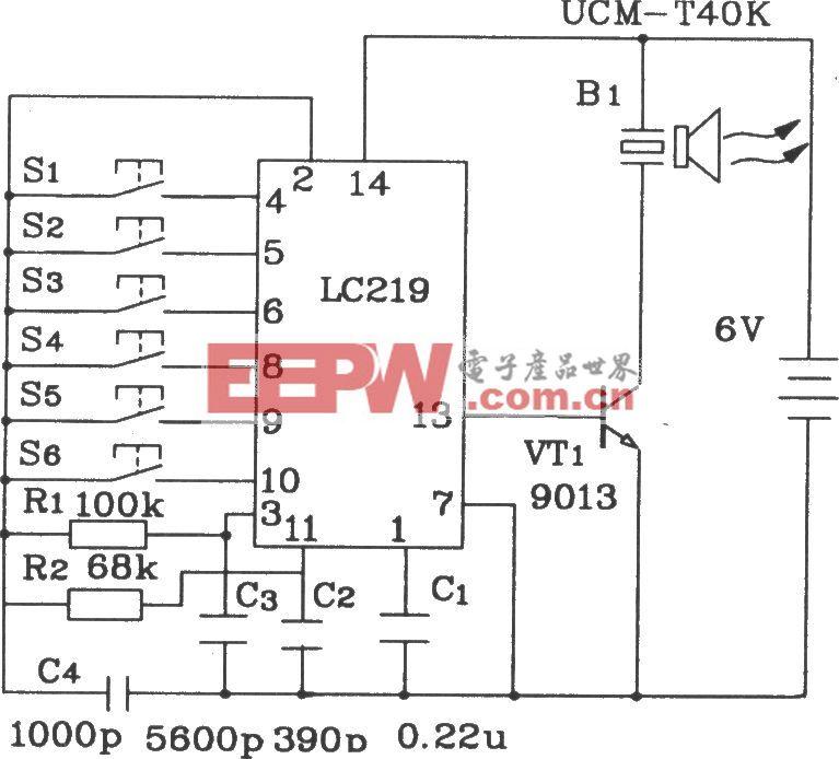 LC219/220A構成超聲波6路遙控接收應用電路圖