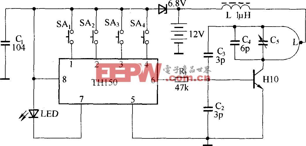 滚码型无线电遥控电路(TH150/TH150A、B)