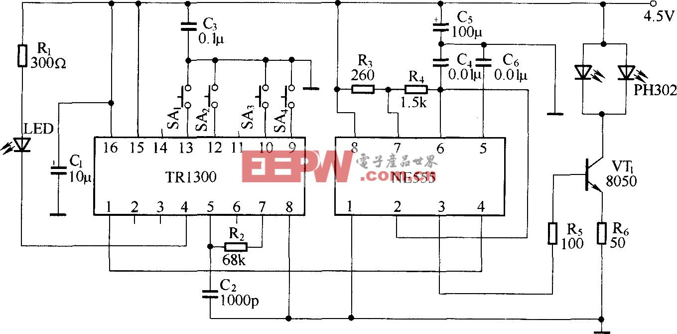 红外线遥控电路(TR1300/1315,PIC12043)