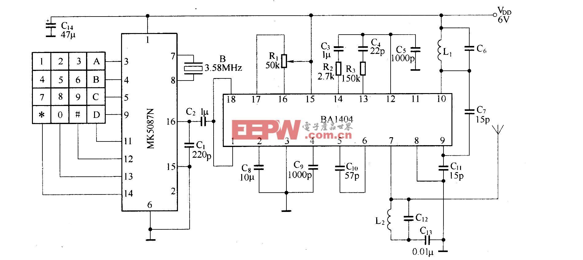 DTMF编码十六通道遥控电路(BA1404/TDA7021T)