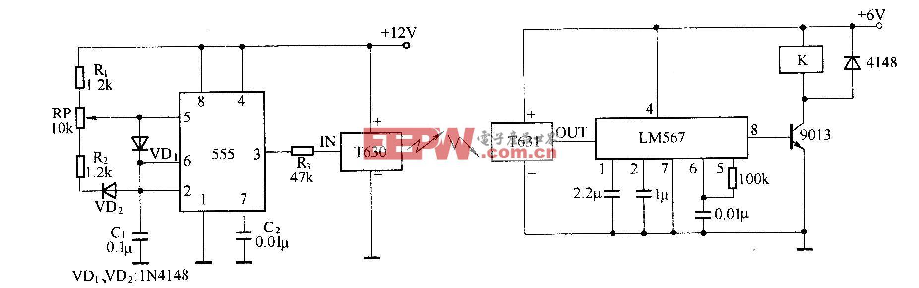 由T630/T631组成的微型无线遥控电路