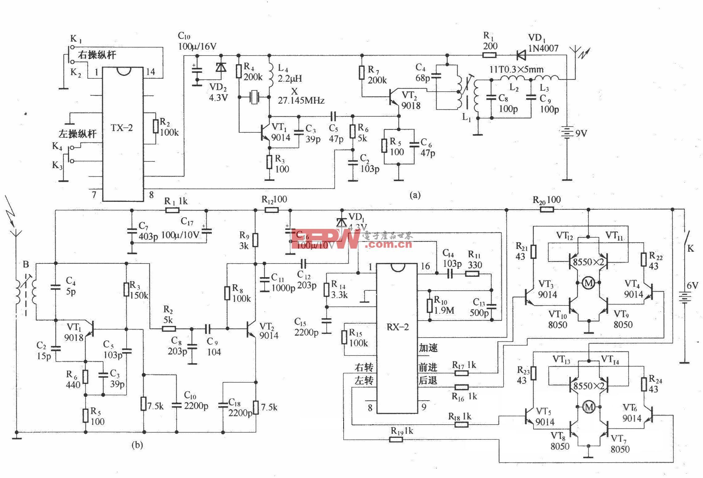 由RX-2/TX-2组成的四通道无线遥控玩具汽车电路原理图