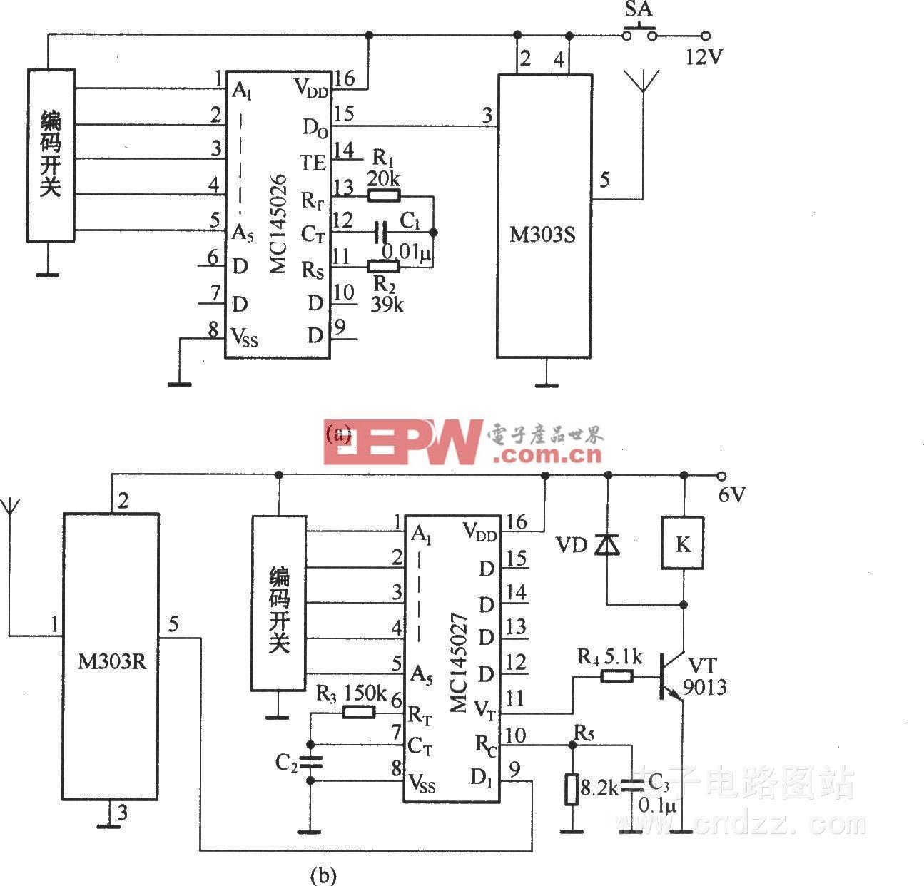 数字编码遥控开关(数字编译码器MC145026/MC145027微型无线电收发模块M303S/M303R)