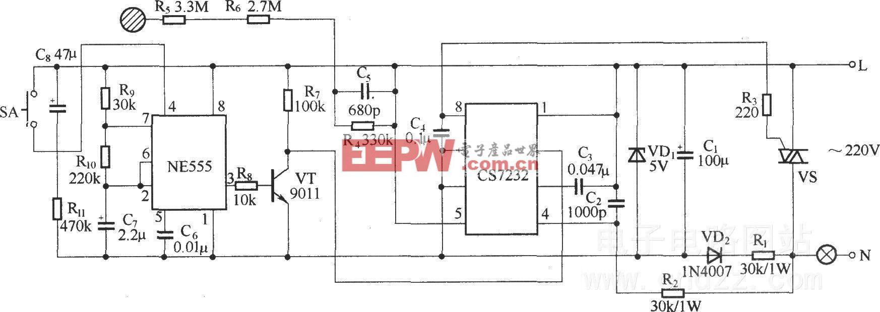 由CS7237构成的自熄式触摸调光电路