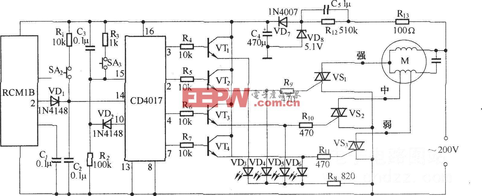无线遥控电扇调速器(RCM1A/RCM1B组成收发模块)