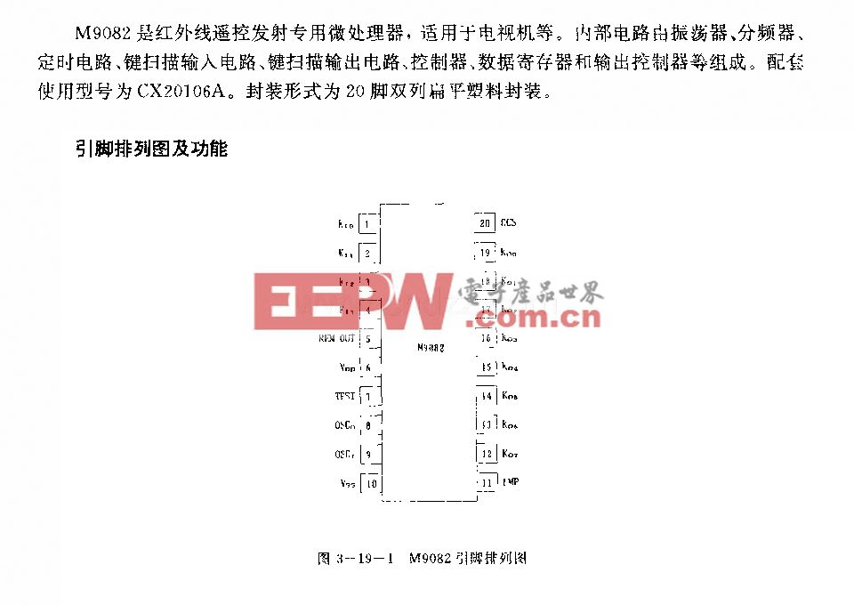 M9082 (电视机)红外线遥控发射微处理器