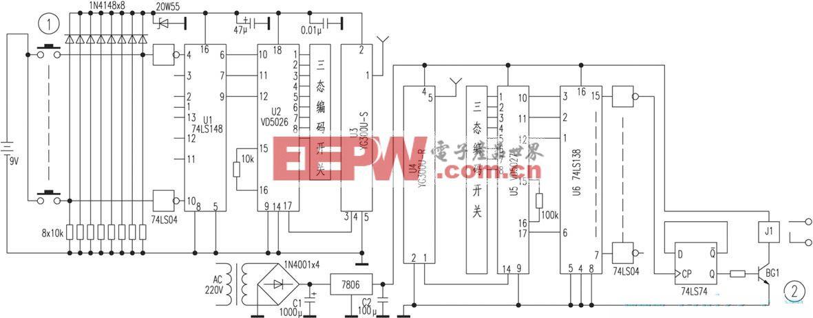 采用专用编/解码集成电路的多路遥控开关电路