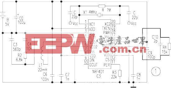 用单片无线收发一体芯片 NRF401 构成的高可靠遥控电路