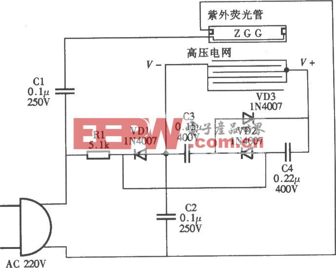 美之杰牌MWQ-A型单管灭蚊灯电路