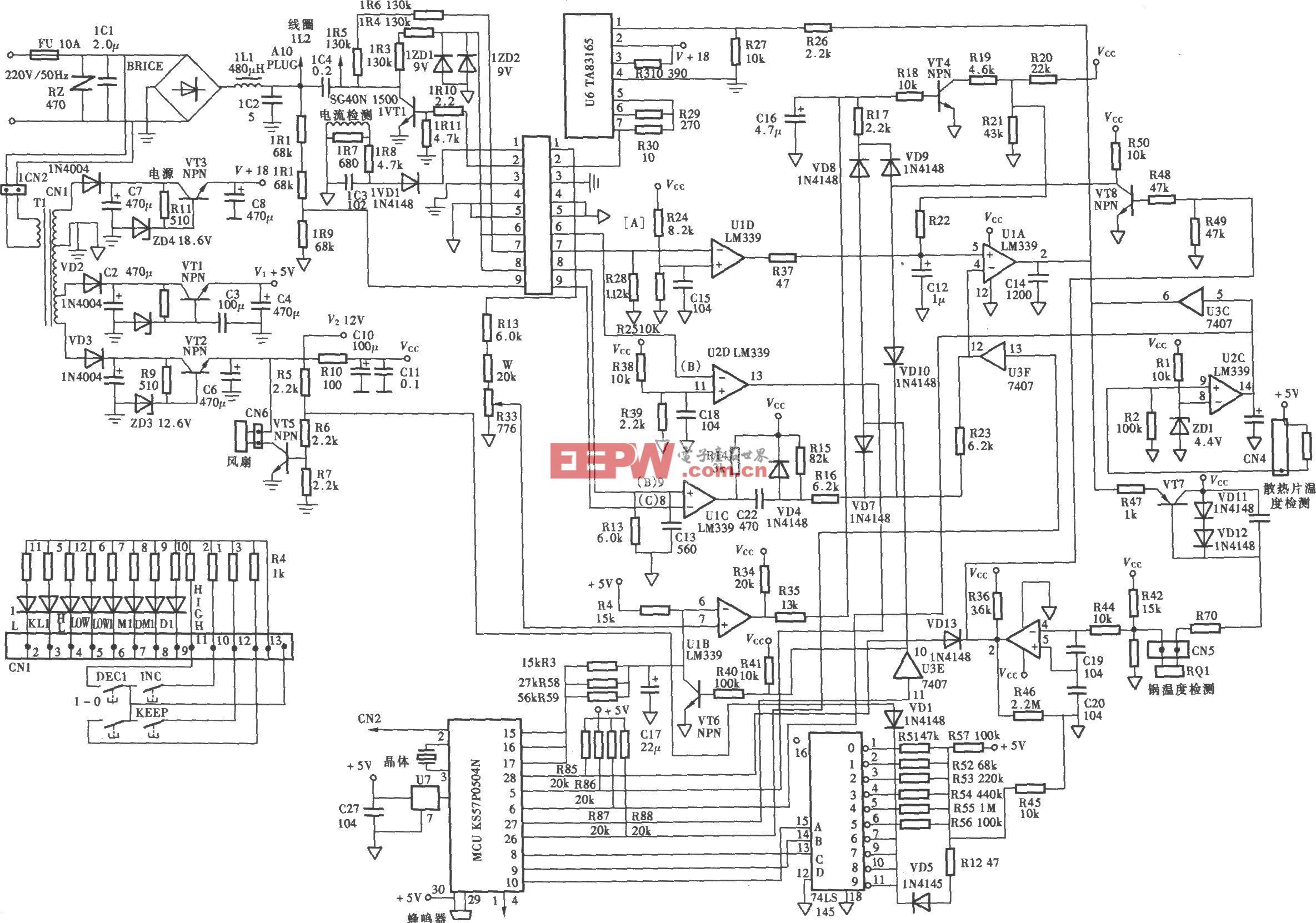 富士宝1H~1000H(700~1300W)电脑式电磁炉电路