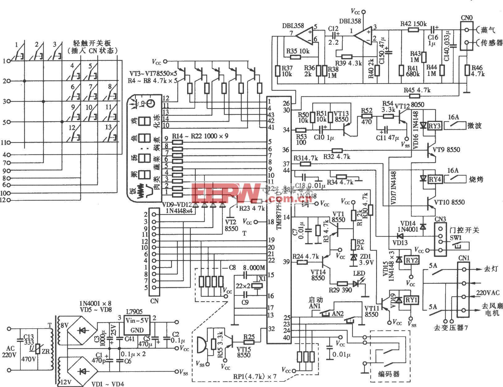 安宝路WD850ES电脑式微波炉电脑控制板电路