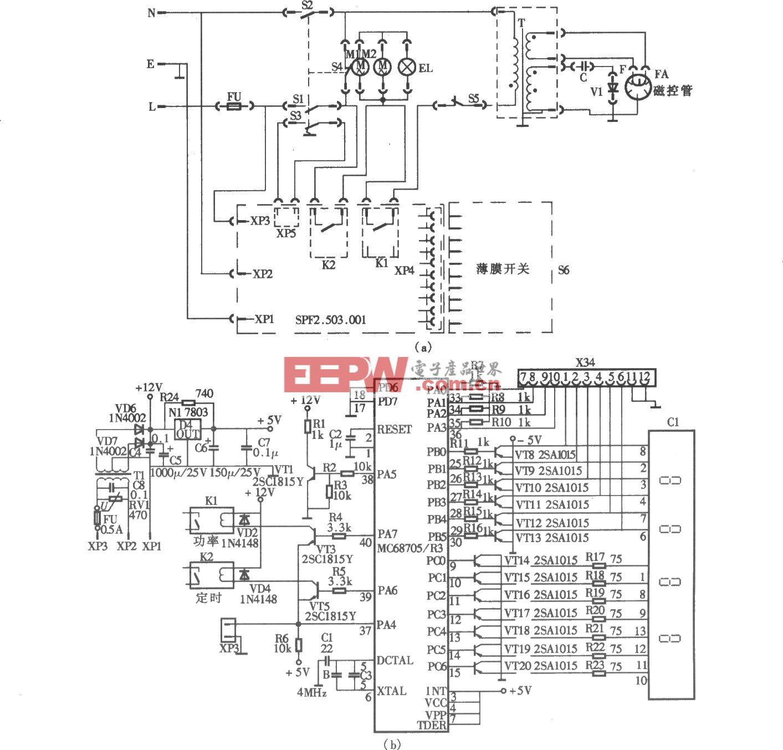 飞跃WP-600型电脑式微波炉电路