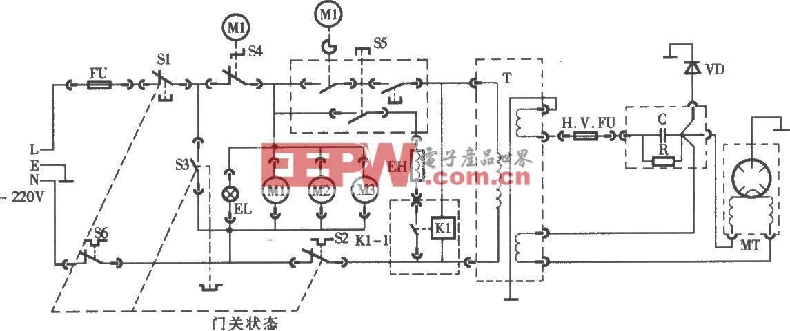 格兰仕牌WD800型烧烤微波炉电路