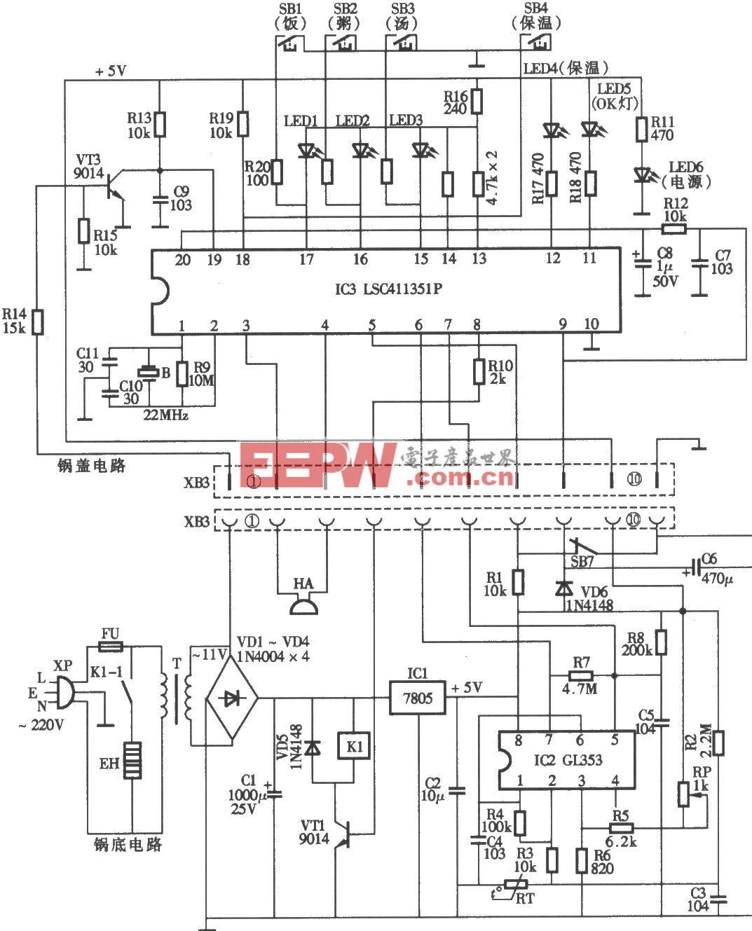 希贵牌GDS65-C型电脑式多用电饭锅电路