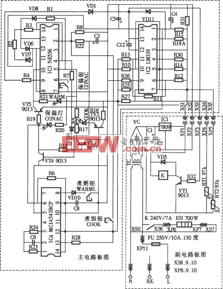 美的牌CFXB40-32型电饭煲电路