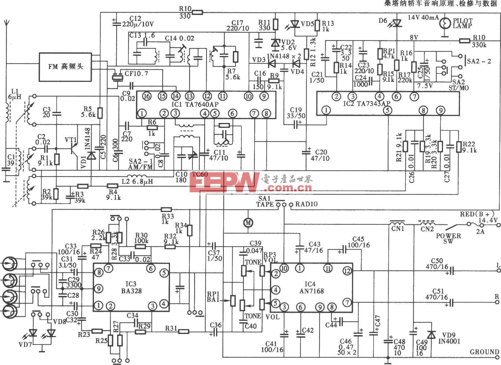 天宝牌TB-860型汽车音响电路