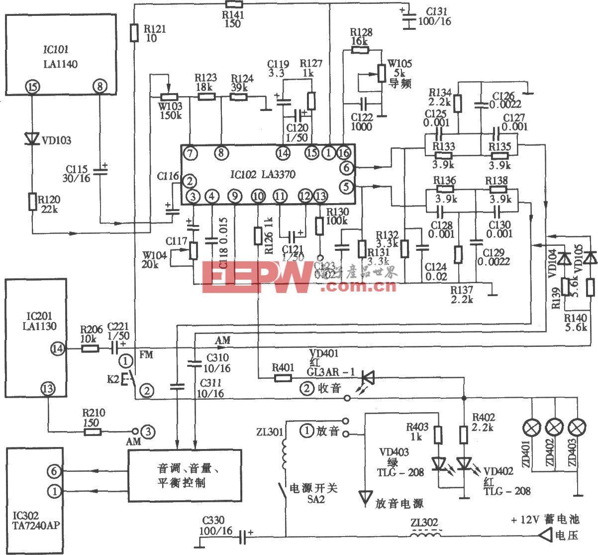 桑塔纳轿车配置凯歌牌4820C型汽车音响立体声解码电路