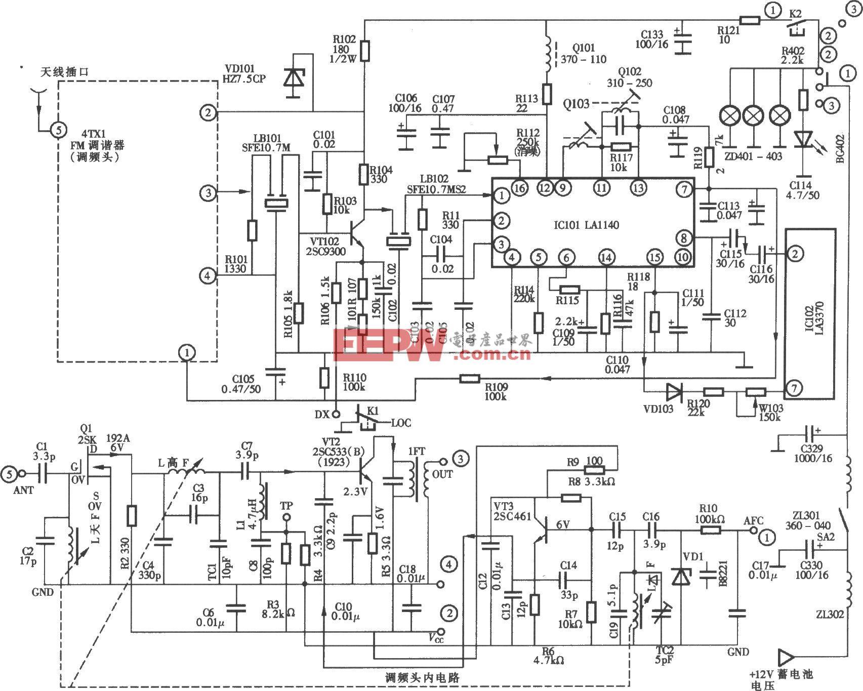 桑塔纳轿车配置凯歌牌4B20C型汽车音响收音调谐中放电路