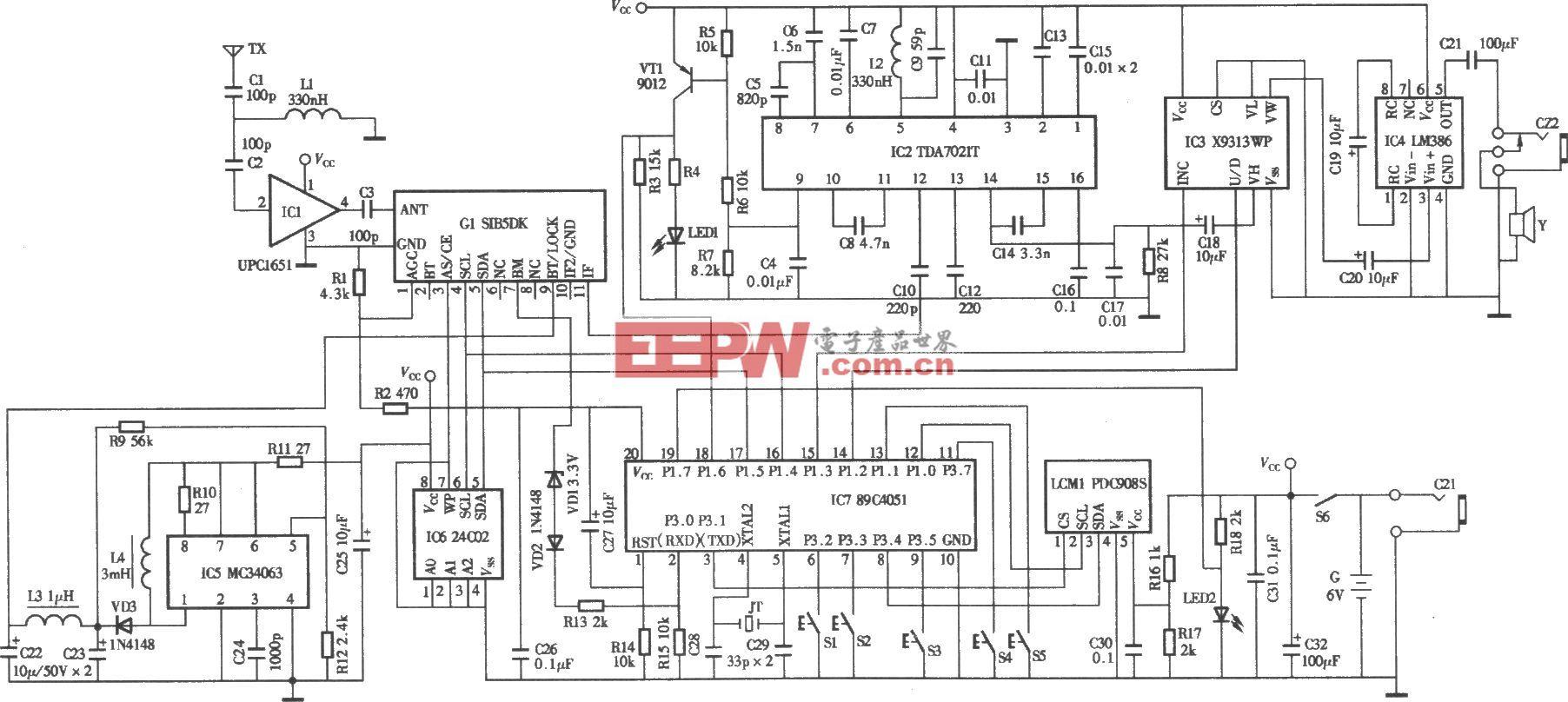 自制手持式频率合成数字调谐式调频收音机电路