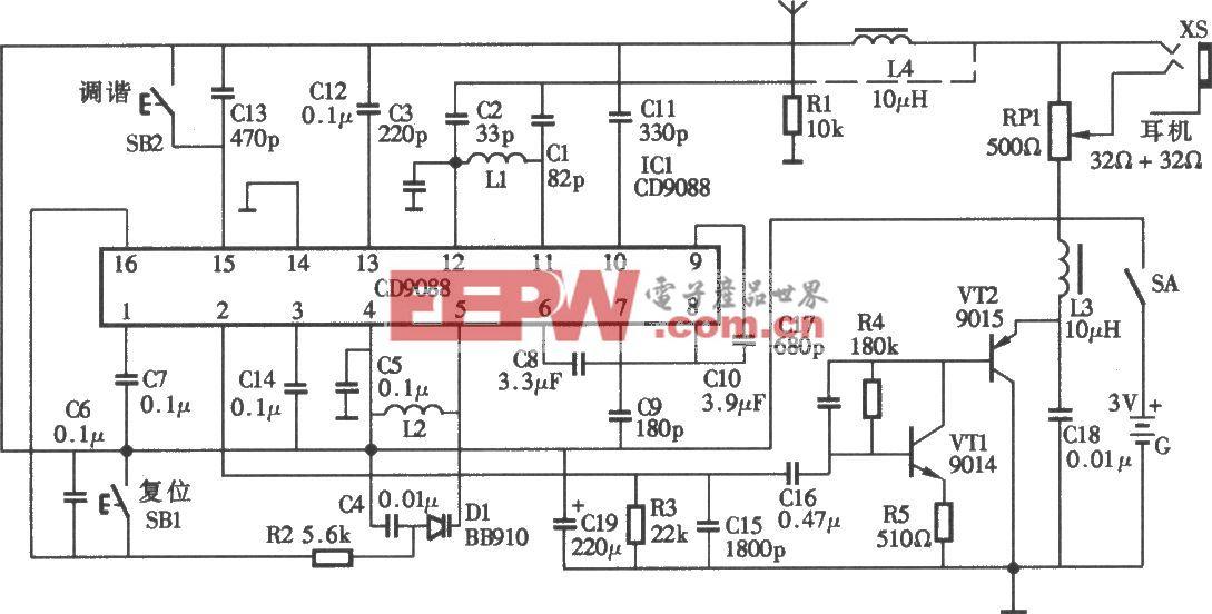 電調諧調頻收音機電路