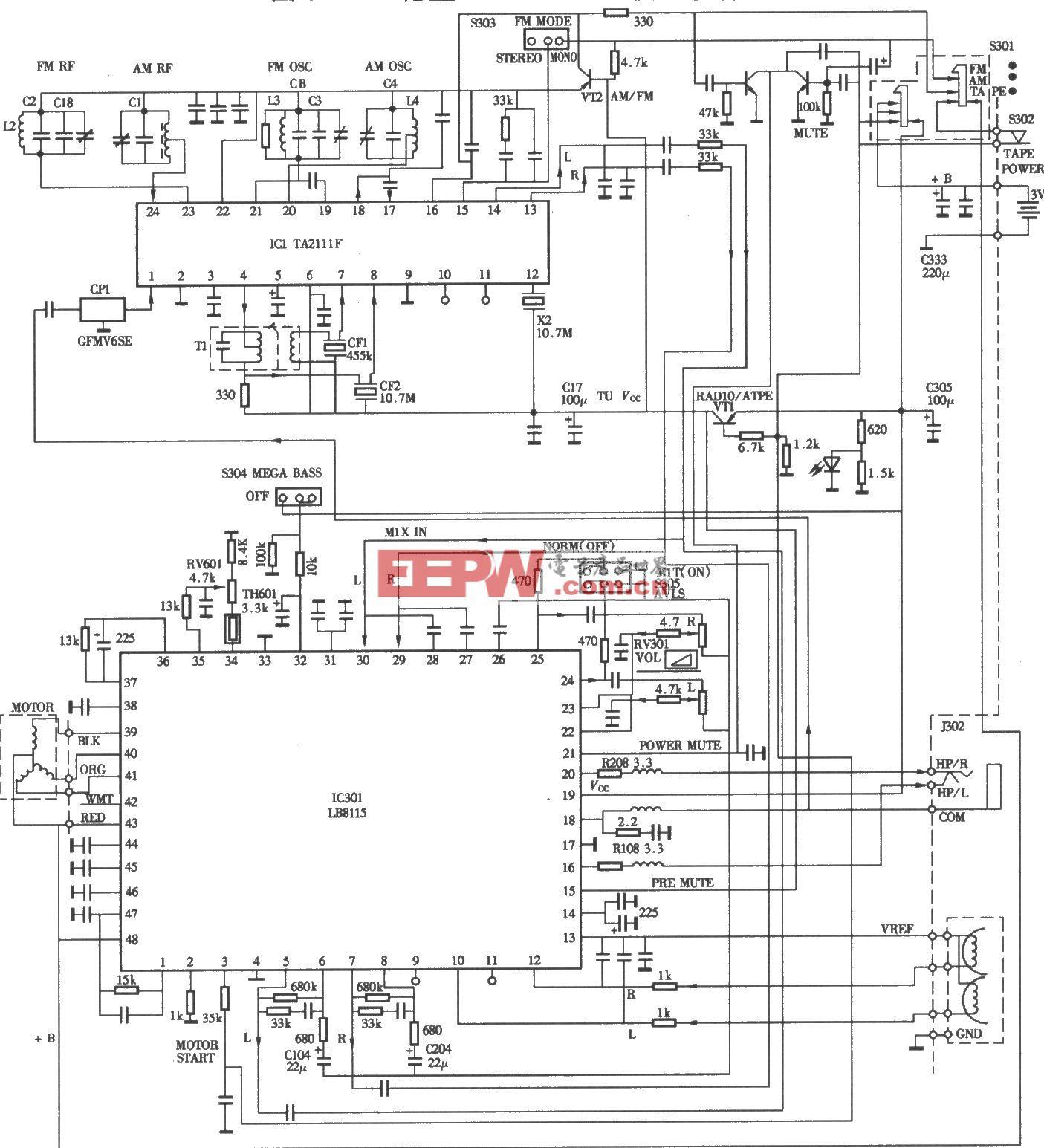 索尼FXl93/FXl95收放音機電路