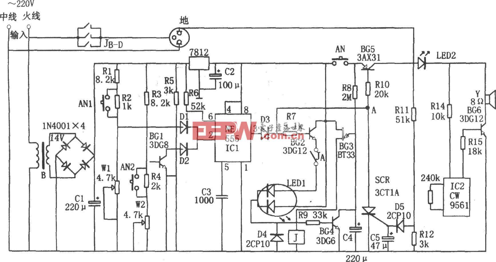 其 中降压整流电路为整个电路提供直流电压.-555构成的全自动电冰图片