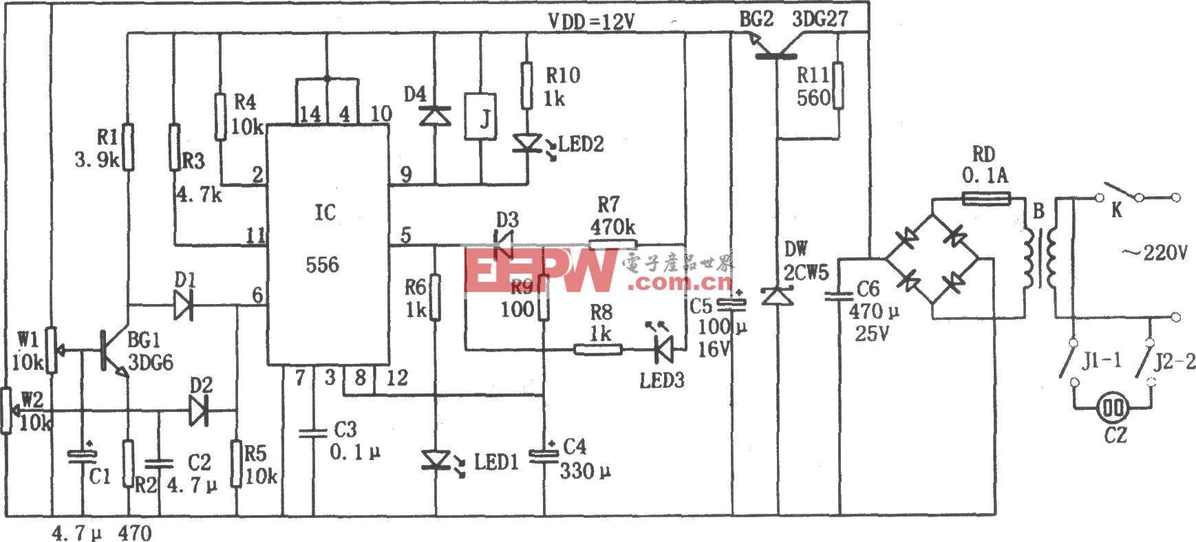 556构成的电冰箱过压、欠压、断电延时保护器