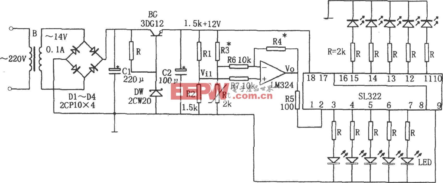 电冰箱温度告知电路(LM324、SL322)