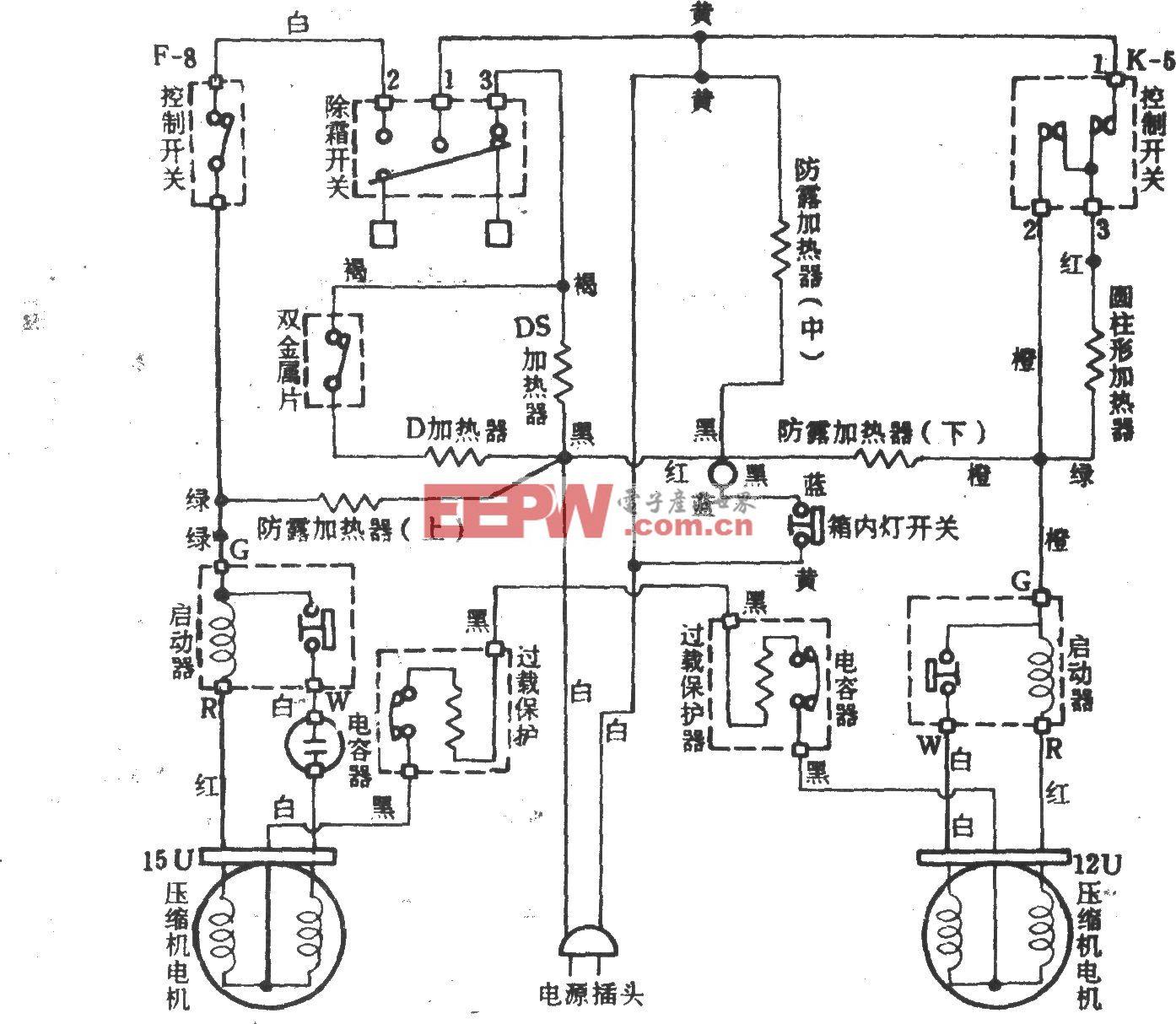 台湾两独立制冷系统电冰箱