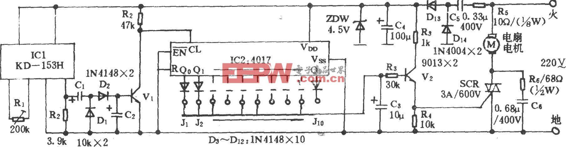 电风扇模拟自然风电路(九)