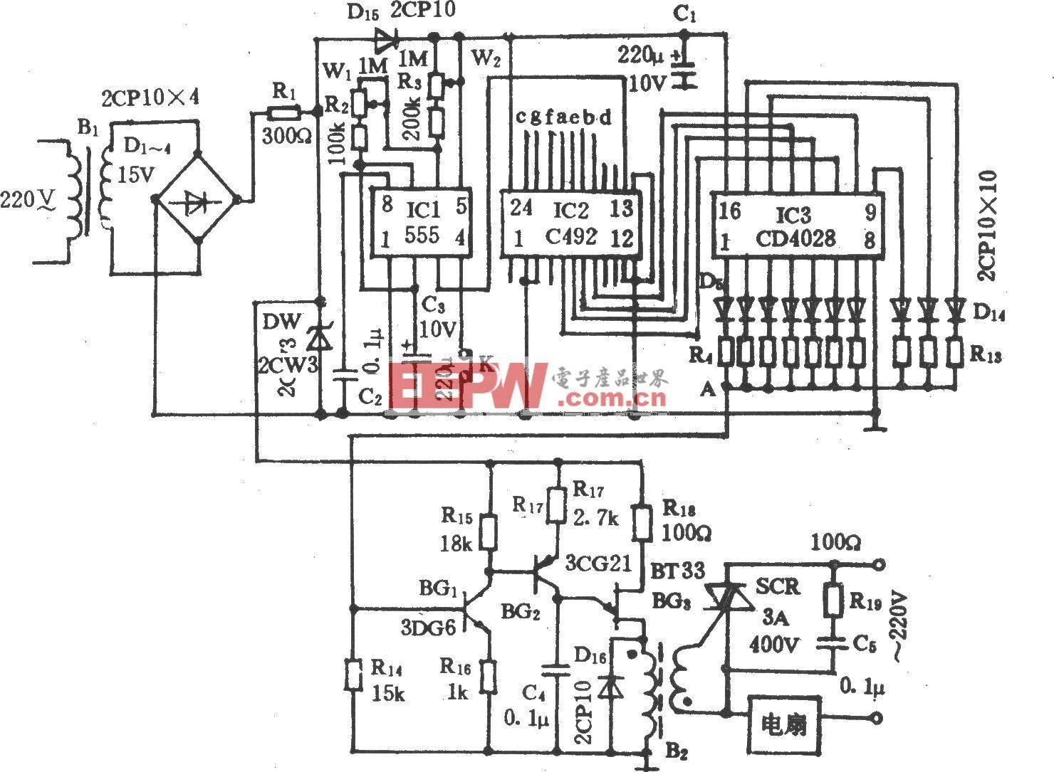 电风扇自动变换风速控制电路