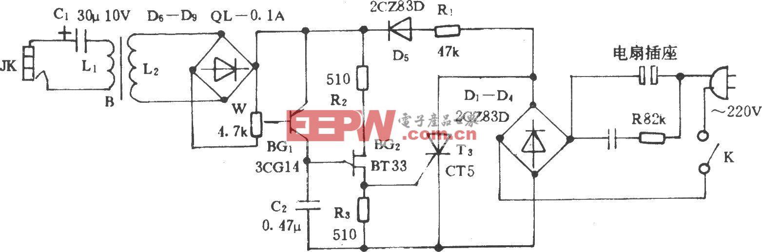 音乐控制电风扇转速电路(二)
