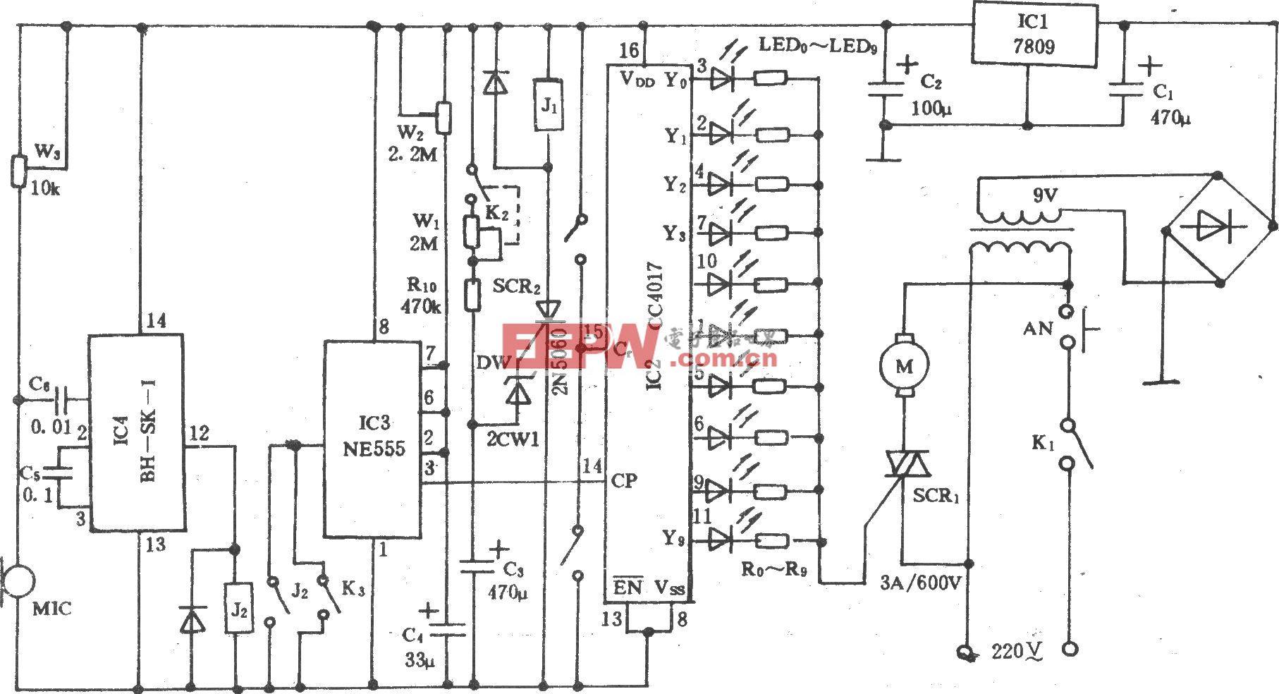 电风扇多功能声控调速电路