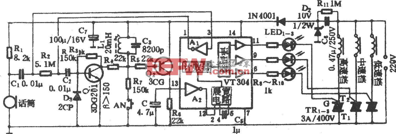 电风扇多功能声控调速电路(VT304)