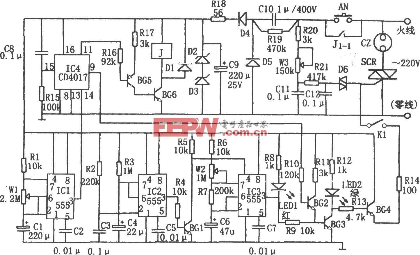 多功能电扇控制器(555、CD4017)
