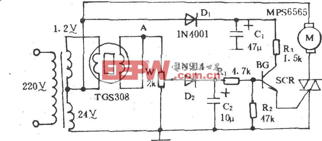 换气扇自动气控电路
