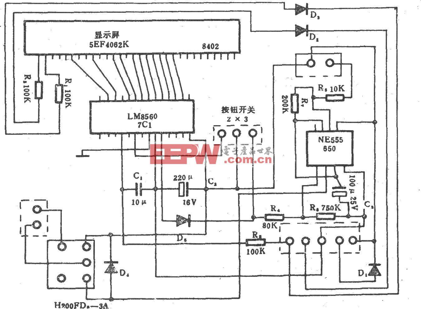 长城S511-40型电风扇钟控电路