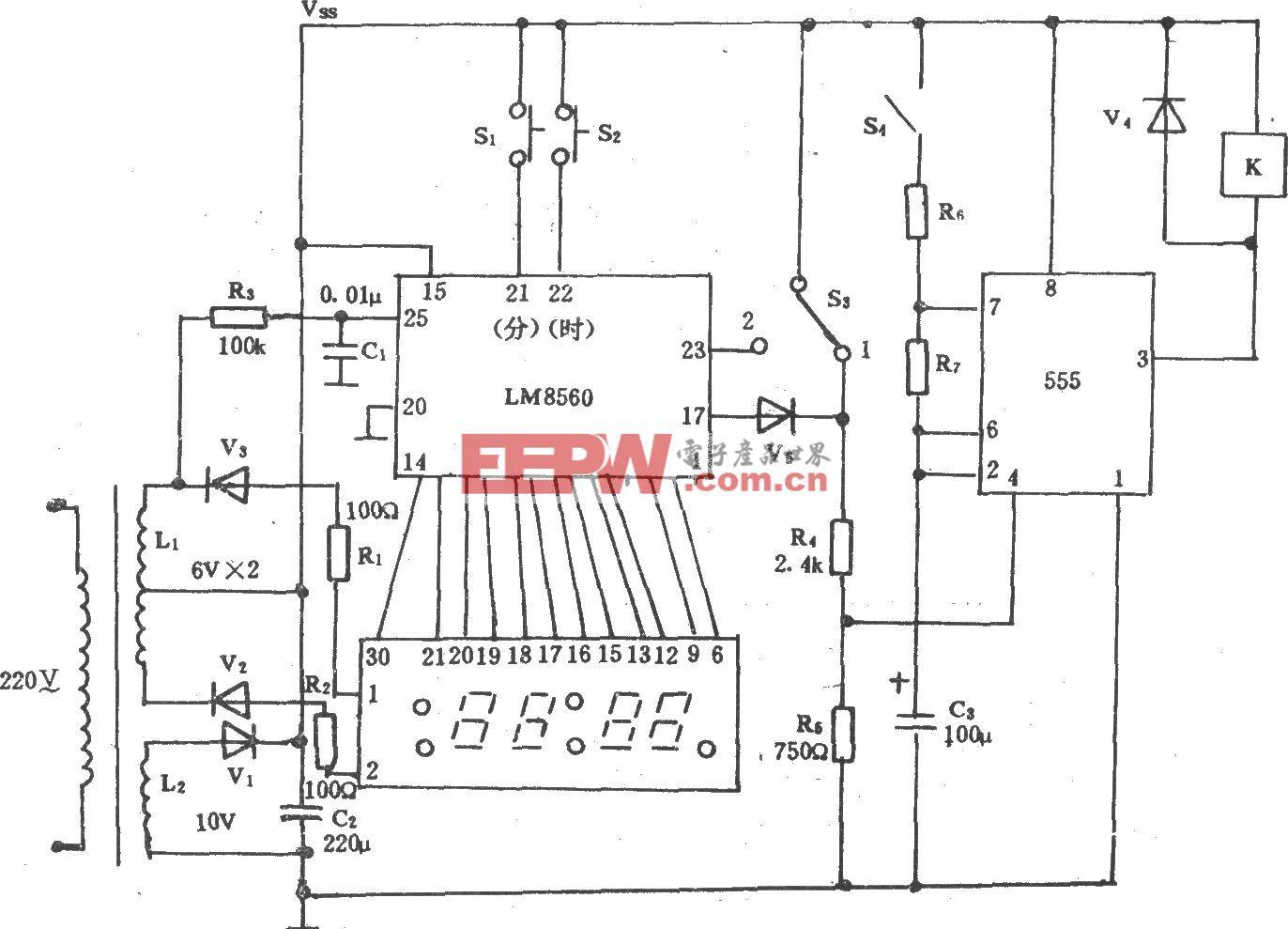 钟控制电风扇电路(长城FS11-40)