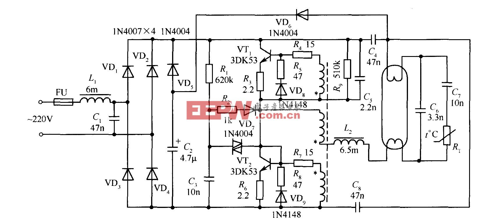 低成本高功率因数电子镇流器电路