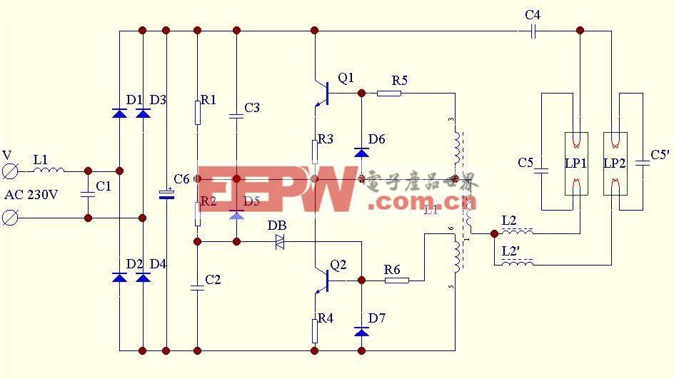 双管电子整流器电路