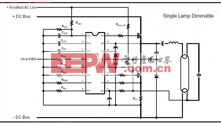 IR2159可調光集成電路電子鎮流器