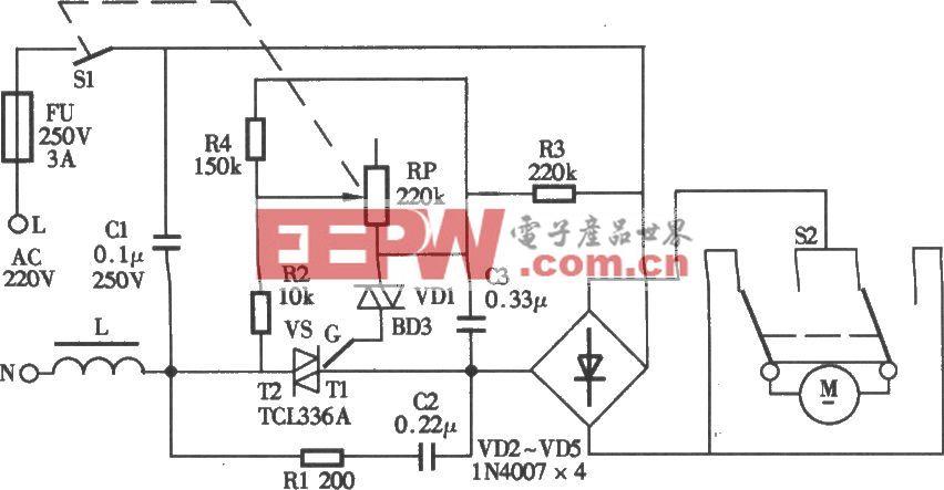 耐奇YB-831A型滚动式按摩健身器电路