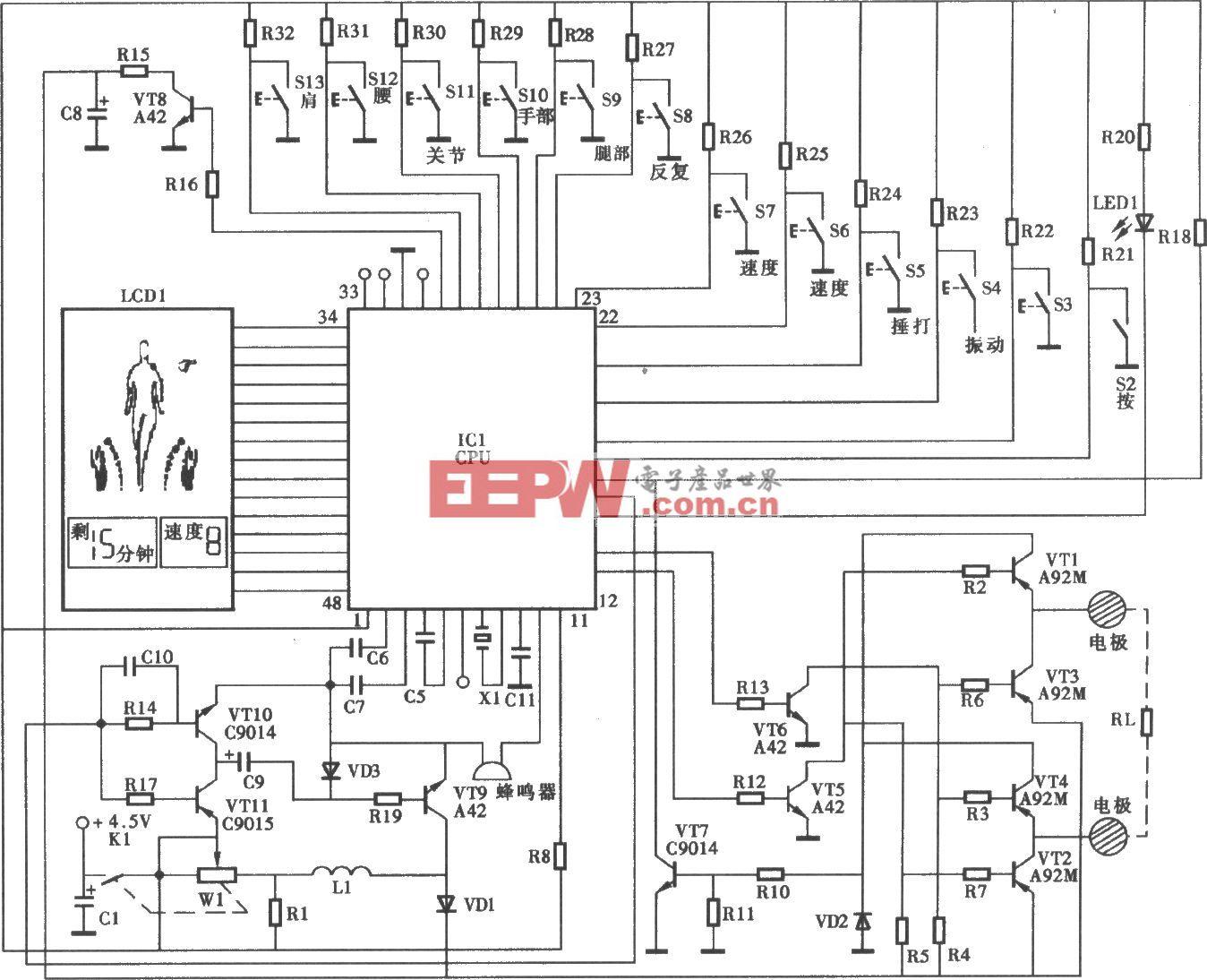 妙手AD-2100型治疗仪电路